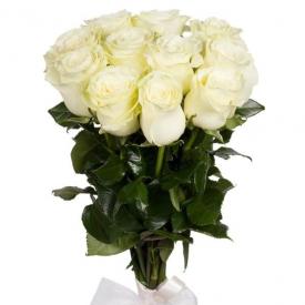 11 роз белые (60см)