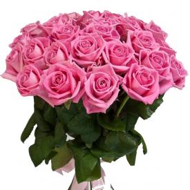 25 роз розовые