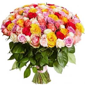 101 роза MIX (40см)